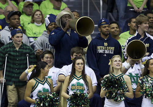 December 05, 2012:  Notre Dame football players cheer on their team during NCAA Women's Basketball game action between the Notre Dame Fighting Irish and the Baylor Bears at Purcell Pavilion at the Joyce Center in South Bend, Indiana.  Baylor defeated Notre Dame 73-61.