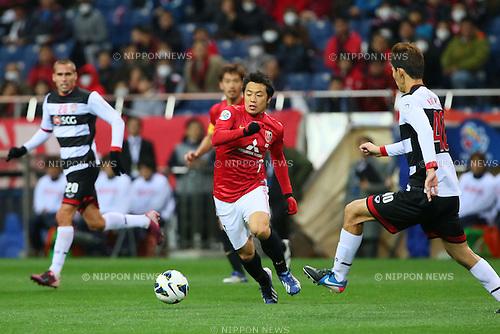 Tsukasa Umesaki (Reds), .MARCH 12, 2013 - Football / Soccer : .AFC Champions League 2013 Group F .between Urawa Red Diamonds 4-1 Muangthong United .at Saitama Stadium 2002, Saitama, Japan. .(Photo by YUTAKA/AFLO SPORT)
