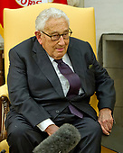 Former United States Secretary of State Dr. Henry Kissinger makes brief remarks as he meets US President Donald J. Trump in the Oval Office of the White House in Washington, DC on Tuesday, October 10, 2017.  During the photo-op the President took some questions from reporters.<br /> Credit: Ron Sachs / CNP