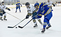 Delaware's Ryan Burns (10) scores a third period goal to set the final score, as Delaware defeated Navy 8-3 at McMullen Hockey Arena.<br /> <br /> Photo by Randy Litzinger