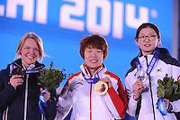 OLYMPICS: SOCHI: Medal Plaza, 15-02-2014, Short Track, Ladies 1500m, Arianna Fontana (ITA), Yang Zhou (CHN), Suk Hee Shim (KOR), ©photo Martin de Jong