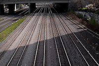 Rail leading to Union Station are pictured in Toronto April 22, 2010.