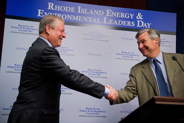 UNITED STATES - JUNE 11: Sen. Sheldon Whitehouse, D-R.I., right, introduces former Vice President Al Gore during the Fourth Annual Rhode Island Energy and Environmental Leaders Day held in the Capitol Visitor Center where Gore delivered a speech in the environment. (Photo By Tom Williams/CQ Roll Call)