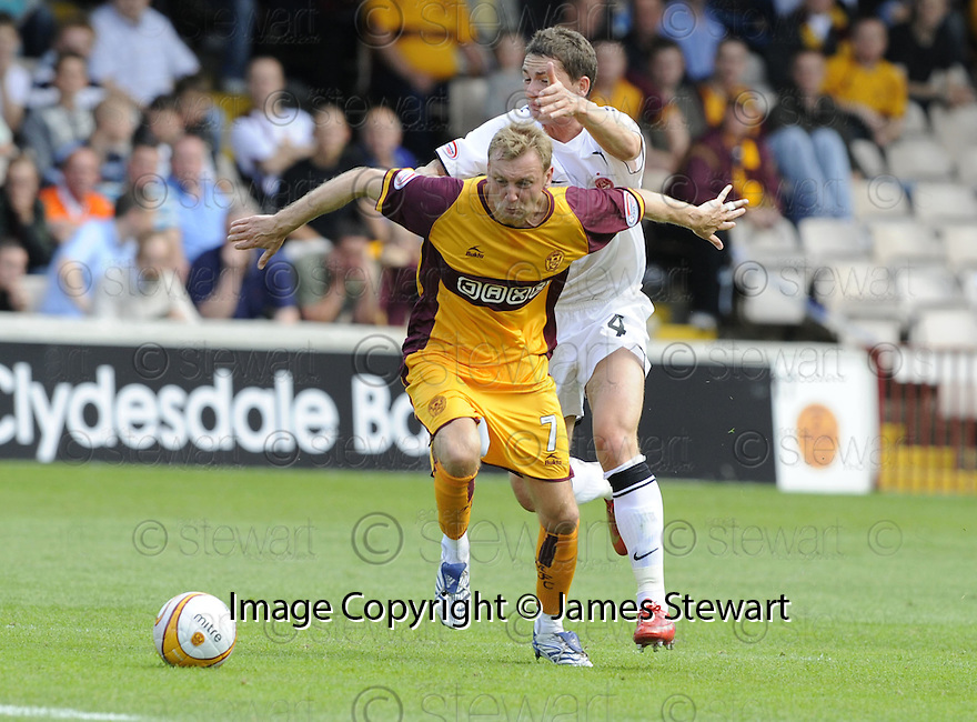16/08/2008  Copyright Pic: James Stewart.File Name : sct_jspa01_motherwell_v_aberdeen.STEPHEN HUGHES HOLDS OFF GARY MCDONALD.James Stewart Photo Agency 19 Carronlea Drive, Falkirk. FK2 8DN      Vat Reg No. 607 6932 25.Studio      : +44 (0)1324 611191 .Mobile      : +44 (0)7721 416997.E-mail  :  jim@jspa.co.uk.If you require further information then contact Jim Stewart on any of the numbers above........