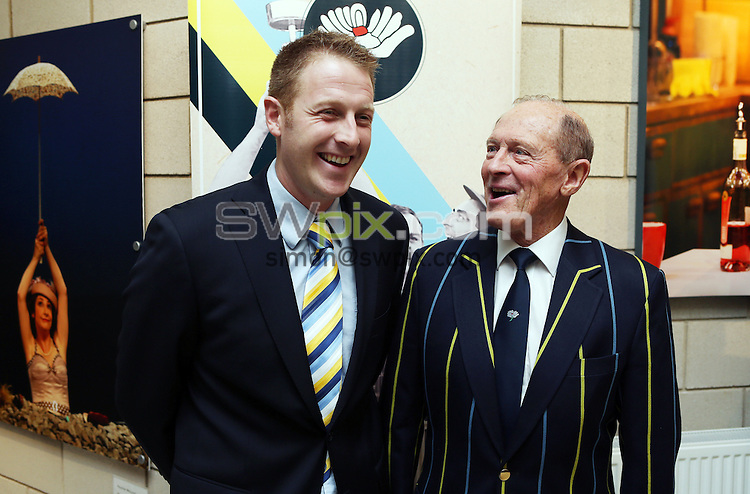 PICTURE BY VAUGHN RIDLEY/SWPIX.COM - Cricket - Yorkshire County Cricket Club - Sesquicentennial Soiree - Crucible Studio Theatre, Sheffield, England - 08/01/13 - Yorkshire Captain Andrew Gale and President Geoffrey Boycott at the Sesquicentennial Soiree celebrating the 150th Anniversary of the Yorkshire County Cricket Club.