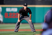 Umpire Reid Gibbs during a game between the Lehigh Valley IronPigs and the Rochester Red Wings on June 29, 2018 at Frontier Field in Rochester, New York.  Lehigh Valley defeated Rochester 2-1.  (Mike Janes/Four Seam Images)