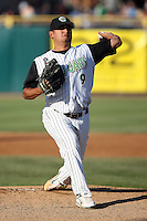 August 17 2008:  Pitcher Carlos Hernandez of the Kane County Cougars, Class-A affiliate of the Oakland Athletics, during a game at Philip B. Elfstrom Stadium in Geneva, IL.  Photo by:  Mike Janes/Four Seam Images