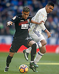 Real Madrid's Carlos Henrique Casemiro (r) and Granada CF's Andreas Pereira during La Liga match. January 7,2016. (ALTERPHOTOS/Acero)