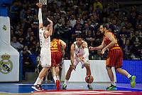 Real Madrid´s Gustavo Ayon and Galatasaray´s Guler during 2014-15 Euroleague Basketball match between Real Madrid and Galatasaray at Palacio de los Deportes stadium in Madrid, Spain. January 08, 2015. (ALTERPHOTOS/Luis Fernandez) /NortePhoto /NortePhoto.com