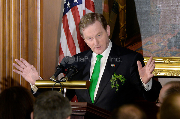 The Taoiseach of Ireland Enda Kenny speaks during the Friends of Ireland Luncheon at the U.S Capitol on March 16, 2017 in Washington, DC. <br /> Credit: Olivier Douliery / Pool via CNP /MediaPunch