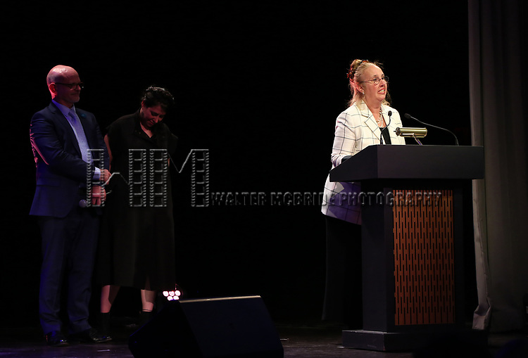 Michael Wilson, Rachel Chavkin and Gale Brewer  on stage at the Stage Directors and Choreographers Foundation event honoring Julie Taymor with the Mr. Abbott Award at the Bohemian National Hall on April 2, 2018 in New York City.