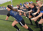Columbia starters race onto the field as the game draws to an end to congratulate teammates who subbed in late during the second half. Columbia defeated St. Teresa - Decatur 8-1 in the Class 1A girls soccer supersectional game played at Columbia High School in Columbia, IL on Tuesday May 21, 2019.<br /> Tim Vizer/Special to STLhighschoolsports.com