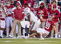 NWA Democrat-Gazette/BEN GOFF @NWABENGOFF<br /> Marcus Murphy, Mississippi State free safety, intercepts a pass intended for Grayson Gunter, Arkansas tight end, in the second quarter Saturday, Nov. 2, 2019, at Reynolds Razorback Stadium in Fayetteville. Murphy returned the interception for a touchdown.