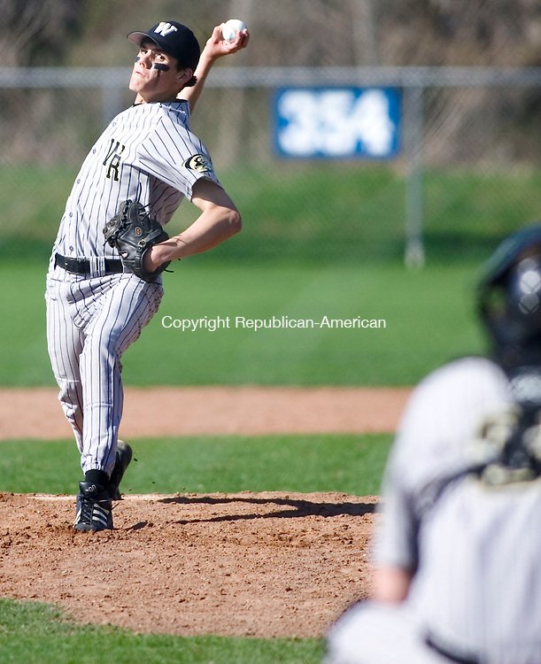 WATERTOWN, CT- 30 APRIL 07- 043007JT15-<br /> Woodland pitcher Steve Corbett during Monday's game at Deland Field against Watertown in Watertown. Woodland won 7-3.<br /> Josalee Thrift Republican-American