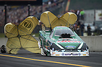 Oct. 6, 2012; Mohnton, PA, USA: NHRA funny car driver John Force during qualifying for the Auto Plus Nationals at Maple Grove Raceway. Mandatory Credit: Mark J. Rebilas-