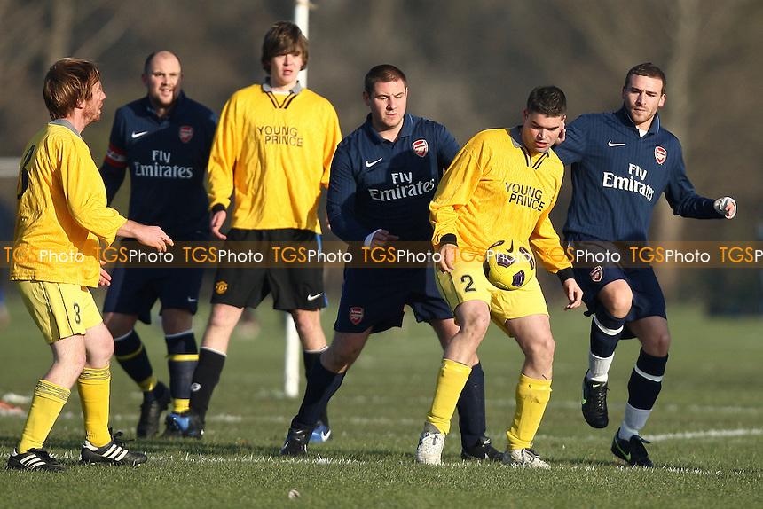 Bow Young Prince (yellow) vs Chapel Old Boys (dark blue) - Hackney & Leyton Sunday League Football at South Marsh, Hackney Marshes - 28/11/10 - MANDATORY CREDIT: Gavin Ellis/TGSPHOTO - Self billing applies where appropriate - Tel: 0845 094 6026