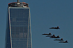 Blue Angels Performs Flyover Around One World Trade Center