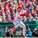 5 April 2018: Washington Nationals outfielder Bryce Harper in action against the New York Mets at Nationals Park in Washington, DC. The Mets defeated the Nationals 8-2 in the first game of their 3-game series. Mandatory Credit: Ed Wolfstein Photo *** RAW (NEF) Image File Available ***