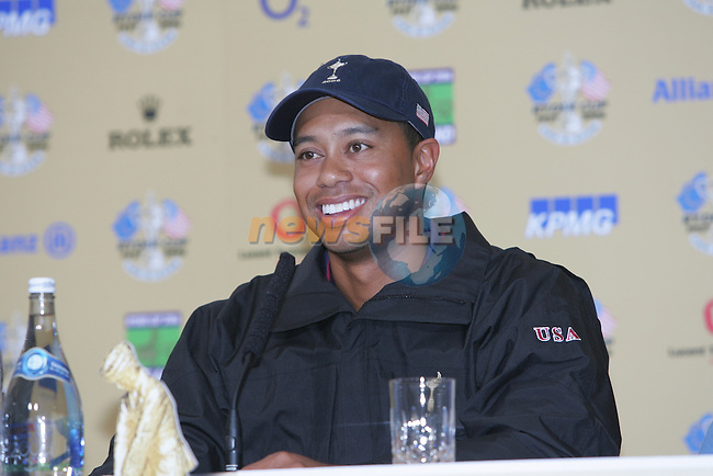 Ryder Cup K Club Straffin Co Kildare...American Ryder Cup Team Member Tiger Woods speaking to media at a press conference on Practice day two at the K Club....Photo: Fran Caffrey/ Newsfile.