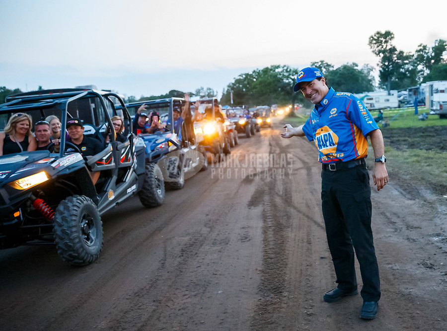 Aug 19, 2017; Brainerd, MN, USA; NHRA funny car driver Ron Capps hangs out in the Brainerd International Raceway camping area referred to as The Zoo following NHRA qualifying for the Lucas Oil Nationals. Mandatory Credit: Mark J. Rebilas-USA TODAY Sports