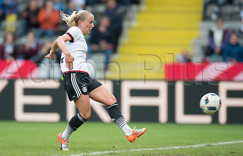 25.10.2016. Aeln, Germany.  Germany's Mandy Islacker shoots and scores the goal for 2-0 during the women's international football match between Germany and the Netherlands in the Scholz Arena in Aalen, Germany, 25 October 2016.