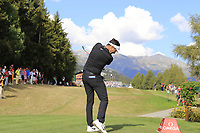 Mike Lorenzo-Vera (FRA) tees off the 18th tee during Sunday's Final Round 4 of the 2018 Omega European Masters, held at the Golf Club Crans-Sur-Sierre, Crans Montana, Switzerland. 9th September 2018.<br /> Picture: Eoin Clarke | Golffile<br /> <br /> <br /> All photos usage must carry mandatory copyright credit (© Golffile | Eoin Clarke)