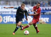 Fussball 2. Bundesliga:  Saison   2012/2013,    4. Spieltag  TSV 1860 Muenchen - MSV Duisburg    31.08.2012 Marin Tomasov (li, 1860 Muenchen) gegen Antonio da Silva (MSV Duisburg)