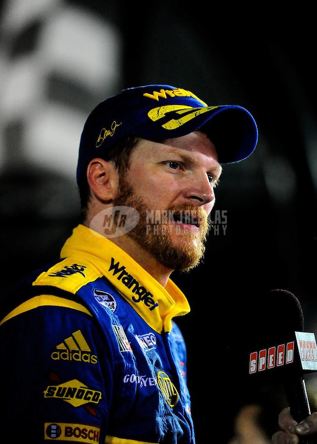 Jul. 2, 2010; Daytona Beach, FL, USA; NASCAR Nationwide Series driver Dale Earnhardt Jr in victory lane after winning the Subway Jalapeno 250 at Daytona International Speedway. Mandatory Credit: Mark J. Rebilas-
