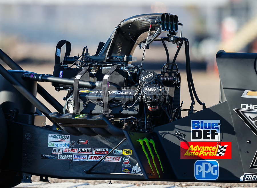 Jan 31, 2018; Chandler, AZ, USA; Detailed view of the engine for the dragster of NHRA top fuel driver Brittany Force during Nitro Spring Training Testing at Wild Horse Pass Motorsports Park. Mandatory Credit: Mark J. Rebilas-USA TODAY Sports