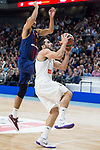 Real Madrid Facundo Campazzo and FC Barcelona Lassa Adam Hanga during Turkish Airlines Euroleague match between Real Madrid and FC Barcelona Lassa at Wizink Center in Madrid, Spain. December 14, 2017. (ALTERPHOTOS/Borja B.Hojas)