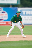 Beloit Snappers second baseman Jesus Lage (12) during a game against the Dayton Dragons on July 22, 2018 at Pohlman Field in Beloit, Wisconsin.  Dayton defeated Beloit 2-1.  (Mike Janes/Four Seam Images)