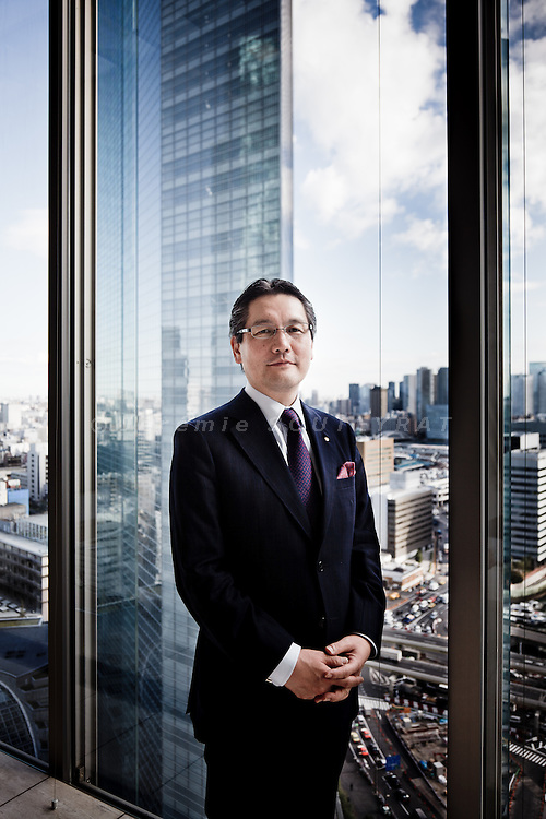 Tokyo, November 21st 2011 - Portrait of Shiseido CEO, Hisayuki Suekawa at the top of the Shiodome tower in th Shinbashi area.