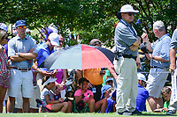 Young golf fans stay cool under the shade of an umbrella on the 7th tee box during round 2 of the Dean &amp; Deluca Invitational, at The Colonial, Ft. Worth, Texas, USA. 5/26/2017.<br /> Picture: Golffile | Ken Murray<br /> <br /> <br /> All photo usage must carry mandatory copyright credit (&copy; Golffile | Ken Murray)