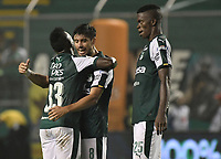 PALMIRA - COLOMBIA, 19-02-2019: Kevin Velasco y Matias Cabrera del Cali celebran después del partido por la fecha 5 de la Liga Águila I 2019 entre Deportivo Cali y Union Magdalena jugado en el estadio Deportivo Cali de la ciudad de Palmira. / Kevin Velasco and Matias Cabrera of Cali celebrate after match for the date 5 as part Aguila League I 2019 between Deportivo Cali and Union Magdalena played at Deportivo Cali stadium in Palmira city.  Photo: VizzorImage / Gabriel Aponte / Staff
