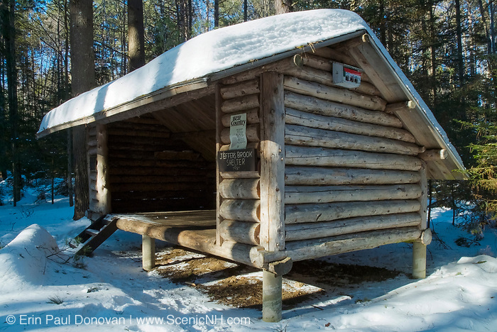 Appalachian Trail - Jeffers Brook Shelter is an Adirondack-style shelter. Located off the Town Line Trail in the White Mountain National Forest of New Hampshire USA