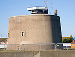 The National Coastwatch Institution look-out in martello tower P at Felixstowe, Suffolk, England