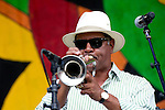 The Charmaine Neville Band performs during the New Orleans Jazz & Heritage Festival in New Orleans, LA.