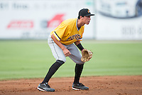 West Virginia Power shortstop Cole Tucker (2) on defense against the Kannapolis Intimidators at Intimidators Stadium on July 2, 2015 in Kannapolis, North Carolina.  The Power defeated the Intimidators 5-1.  (Brian Westerholt/Four Seam Images)