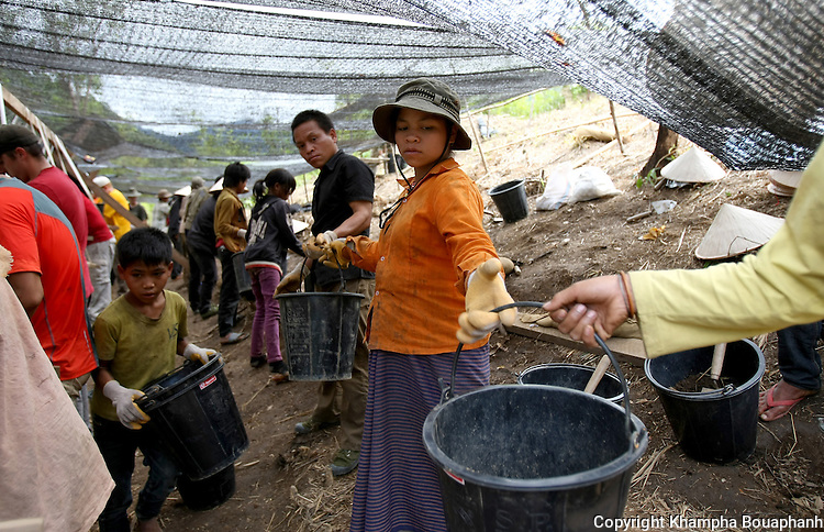 Local villagers work with U.S. miltary at a JPAC dig site near Ta Oy, Laos on Wednesday, November 7, 2012. The recovery team is searching for the remains of an American Marine unaccounted for from the Vietnam war. (Star-Telegram/Khampha Bouaphanh)