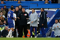 Alvaro Morata of Chelsea protests his innocence to Fourth Official, Andre Marriner, who seems to suggest its nothing to do with him, after being shown a yellow card by referee, Kevin Friend during Chelsea vs Everton, Premier League Football at Stamford Bridge on 11th November 2018