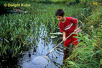 FA27-171a  Child using net to catch insects in Pond - PRA