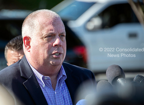 Governor Larry Hogan (Republican of Maryland) speaks to reporters after a gunman opened fire the Capital Gazette newspaper killing five people and injuring many others on Thursday, June 28, 2018.<br /> Credit: Ron Sachs / CNP<br /> (RESTRICTION: NO New York or New Jersey Newspapers or newspapers within a 75 mile radius of New York City)
