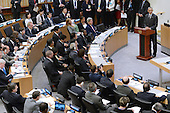 United States President Barack Obama (at podium) delivers remarks on the Ebola epidemic at the United Nations in New York, NY, on September 25, 2014. <br /> Credit: Anthony Behar / Pool via CNP