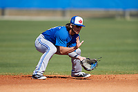 Toronto Blue Jays Bo Bichette (18) during practice before a Minor League Spring Training intrasquad game on March 14, 2018 at Englebert Complex in Dunedin, Florida.  (Mike Janes/Four Seam Images)
