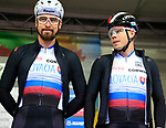 Peter and Juraj Sagan of Slovakia at sign on before the Men Elite Road Race of the UCI World Championships 2019 running 280km from Leeds to Harrogate, England. 29th September 2019.<br /> Picture: Eoin Clarke | Cyclefile<br /> <br /> All photos usage must carry mandatory copyright credit (© Cyclefile | Eoin Clarke)