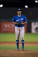 Ogden Raptors relief pitcher Gregorio Sequera (56) gets ready to deliver a pitch during a Pioneer League game against the Orem Owlz at Home of the OWLZ on August 24, 2018 in Orem, Utah. The Ogden Raptors defeated the Orem Owlz by a score of 13-5. (Zachary Lucy/Four Seam Images)