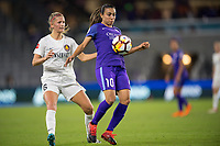 Orlando, FL - Saturday March 24, 2018: Orlando Pride forward Marta Vieira da Silva (10) settles the ball in front of Utah Royals defender Katie Bowen (6) during a regular season National Women's Soccer League (NWSL) match between the Orlando Pride and the Utah Royals FC at Orlando City Stadium. The game ended in a 1-1 draw.