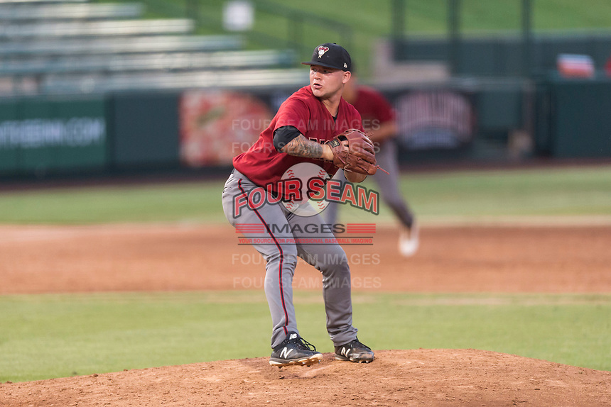 AZL Diamondbacks relief pitcher Jordan Watson (33) delivers a pitch during an Arizona League game against the AZL Angels at Tempe Diablo Stadium on July 16, 2018 in Tempe, Arizona. The AZL Diamondbacks defeated the AZL Angels by a score of 4-3. (Zachary Lucy/Four Seam Images)