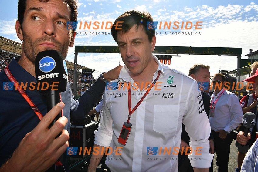 Mark Webber (AUS) and Toto Wolff (AUT) Mercedes AMG F1 Director of Motorsport on the grid at Formula One World Championship, Rd1, Australian Grand Prix, Race, Albert Park, Melbourne, Australia, Sunday 26 March 2017.<br /> Foto Sutton/Panoramic/Insidefoto
