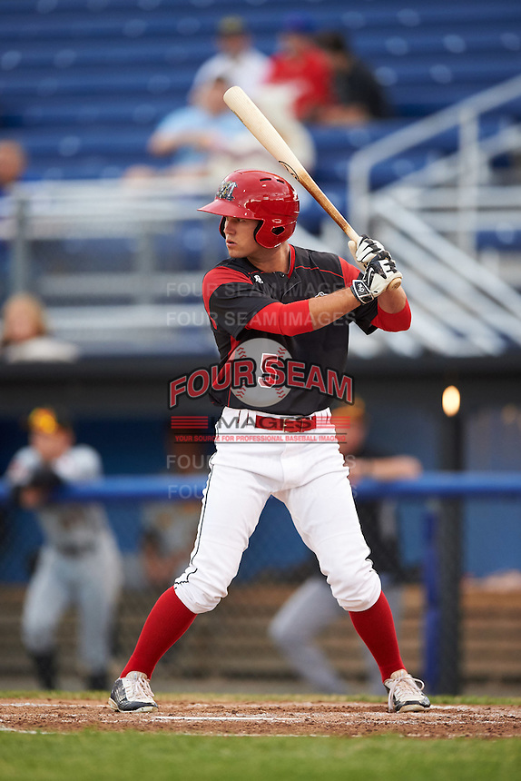Batavia Muckdogs Aaron Knapp (5) at bat during a game against the West Virginia Black Bears on June 28, 2016 at Dwyer Stadium in Batavia, New York.  Batavia defeated West Virginia 3-1.  (Mike Janes/Four Seam Images)